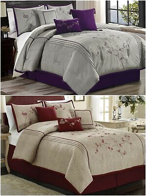 $65.99 • Buy Chezmoi Collection 7pc Cherry Blossoms Floral Embroidery Comforter Set