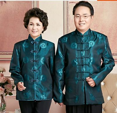 $32.99 • Buy Chinese Middle-aged Couple Clothes Men's/women's Silk Jacket Coat Green Sz M-3XL