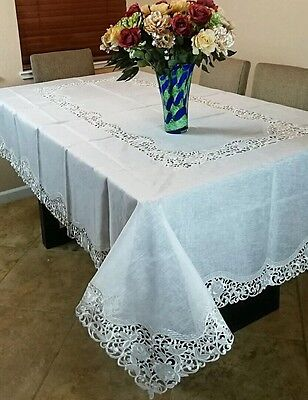 $49.99 • Buy 72x144  Embroidered Lace Rectangle Organza Polyester Tablecloth Napkins Banquet