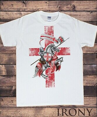 Men's T-Shirt England Knight & Horse St George's Proud English Loyalty TS732 • 12.99£