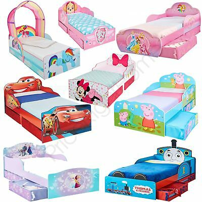 Disney Toddler Bed With Storage + Mattress - Cars, Peppa, Minnie, Frozen & More • 189.99£