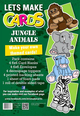 Complete Lets Make Cards Birthday Kit,childrens Cut & Create Decoupage Jungle • 4.99£