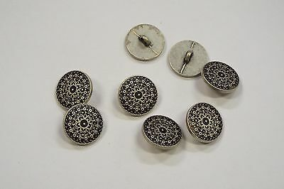 £4.22 • Buy 8pc 18mm Pewter Silver Byzantine Inspired Metal Cardigan Knitwear Button 3521