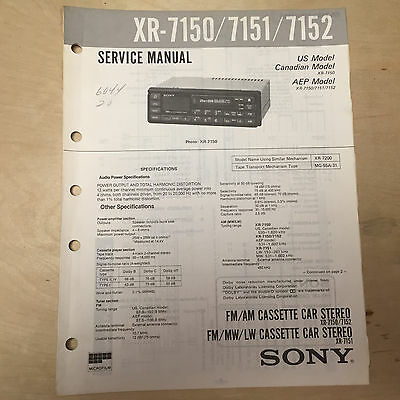 sony service manual for the xr 7150 7151 7152 cassette player radio car  stereo • 8 98