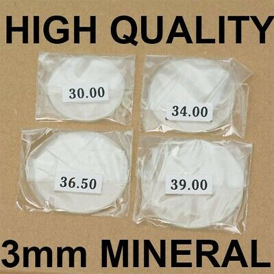 £5.50 • Buy 3mm Thick MINERAL Crystal Glass Glasses Flat 30mm-40mm Large New Watch Crystals