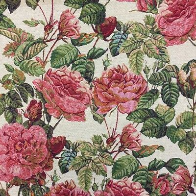 Tapestry Fabric New World Full Blooming Rose Bush Floral Upholstery 140cm • 8.95£