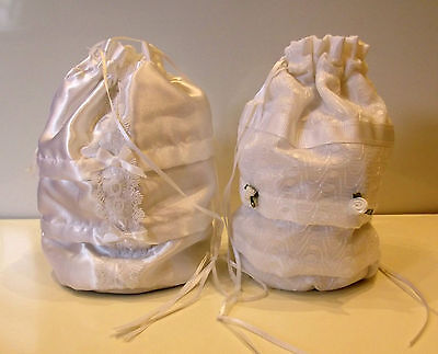Holy  Communion Bridesmaid   White Draw String  Dolly Bag  Lace Or Satin Finish • 6.99£