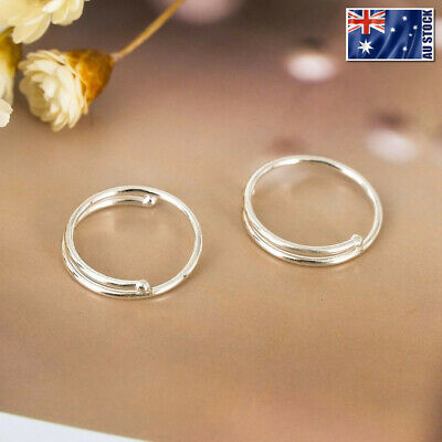 AU8.99 • Buy 925 Sterling Silver Solid 10MM Piercing Round Plain Huggie Hoop Earrings Jewelry