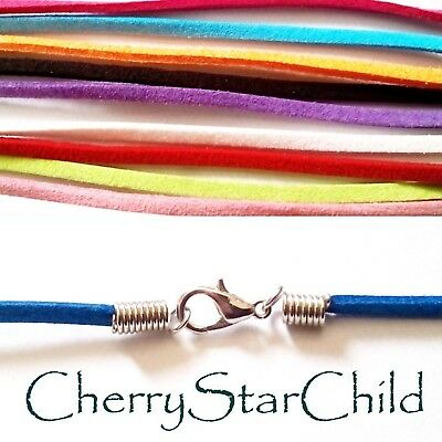 AU2.80 • Buy Genuine Natural Suede Leather Necklace Cord Silver Lobster Clasp Waterproof