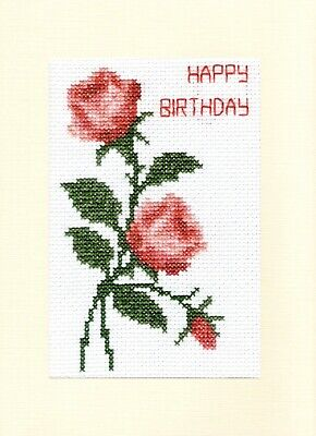 £6.59 • Buy Roses & Bud, Coral/Red/Pink - Happy Birthday Cross Stitch 6x8 A5 Cream Card Kit