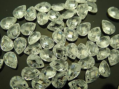 $9.99 • Buy Cubic Zirconia Clear Faceted Pear Briolette Top Front Drilled Teardrop 10 Beads