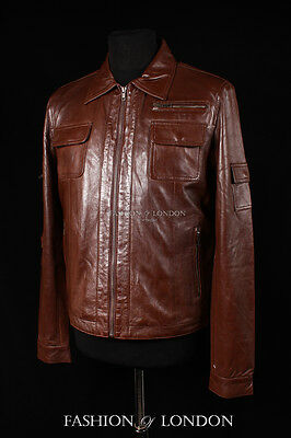 $166.41 • Buy Mens 'MacGyver' Brown Washed Lambskin Army Combat Trucker Leather Jacket Blouson