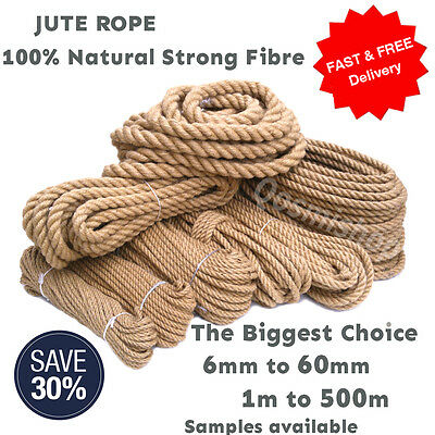 100% Natural Jute Rope Cord Braided Twisted Boating Garden Decking Fitness Gym • 1.99£