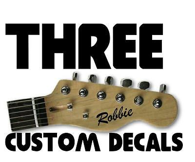 £3.99 • Buy 3 X STICKERS Personalise Custom Name Electric Acoustic Guitar Headstock Decal