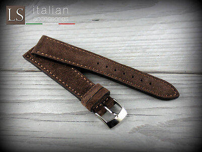 18 20 22 Genuine Italian Leather LS SUEDE Vintage Watch Strap Band Cocoa Brown • 28£