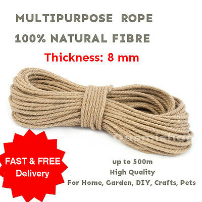 8 Mm 100% Natural Pure Multipurpose Jute Rope 3Strand Braided Twisted Cord Twine • 3.99£