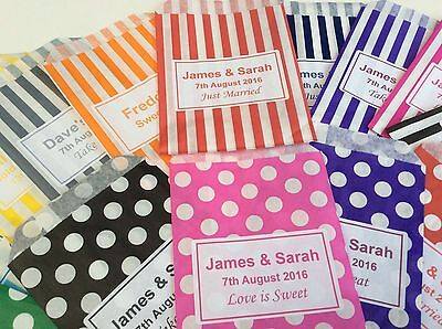 £5.99 • Buy Personalised Candy Striped Polka Dot Sweet Candy Wedding Favour Birthday Bags
