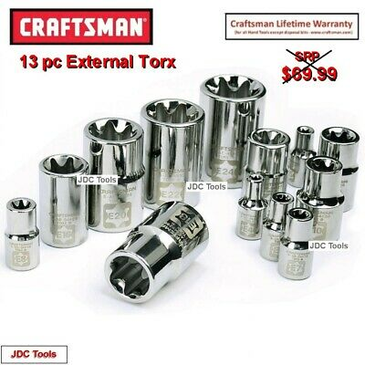 $38.95 • Buy Craftsman 13 Pc Piece 1/2 3/8 1/4 Drive E-Torx External Socket Set 49295 11 7 9