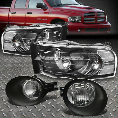 $98.76 • Buy Black/clear Housing Headlights+chrome Drl Fog Lamps/bulb Kit For 02-05 Dodge Ram