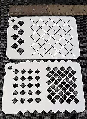 £4.95 • Buy 2 In 1 DIFFERENT SQUARES PATTERNS Airbrush Paint Stencils Face Body Cake Wall