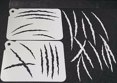 £3.95 • Buy 2 In 1 DIFFERENT STYLE SCRATCHES Airbrush Paint Stencils Face Body Halloween