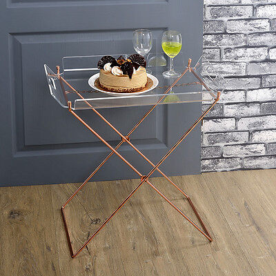 $160 • Buy Cercie Dining Serving Tray Table Side Stand Clear Acrylic Table X Copper Base
