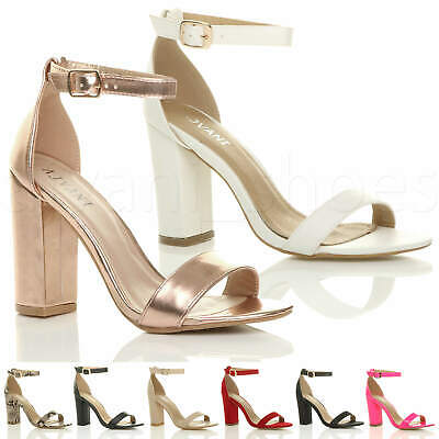 £19.99 • Buy Womens Ladies Block High Heel Ankle Strap Peep Toe Strappy Sandals Shoes Size