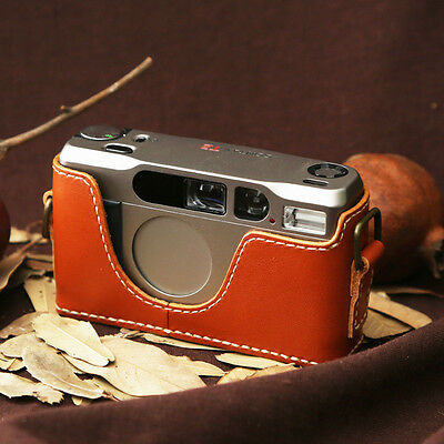 $ CDN68.60 • Buy Leather Contax T2 Tan Brown With White Stitch Half Case - BRAND NEW