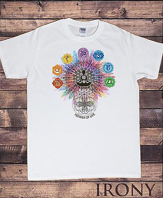 Mens T-Shirt  Flower Of Life  Buddha Chakra Symbols Geometric Design TS796 • 14.99£