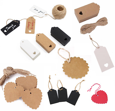 50/100 Christmas Kraft Paper Gift Tags Price Wedding Scallop Label Blank Luggage • 2.45£