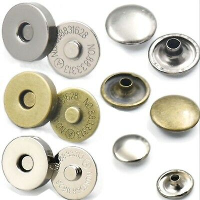 14 - 18 Mm Round Double Rivet Magnetic Snaps Purse Clasp Closures Metal Bag Stud • 1.99£