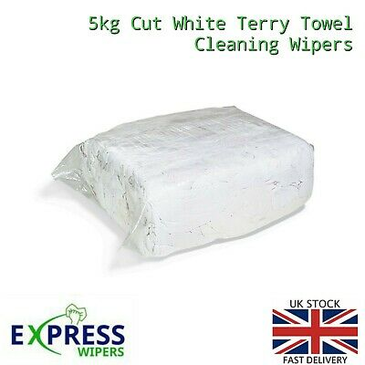 £19.99 • Buy 5kg White Terry Towelling Cleaning Rags Wipers Wiping Cloths PREMIUM QUALITY