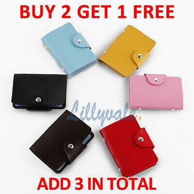 24 Cards Pocket PU Leather Credit ID Business Card Holder Case Wallet Purse • 1.59£