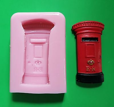 British Post Box Silicone Mould For Cake Toppers, Clay Etc • 12.99£