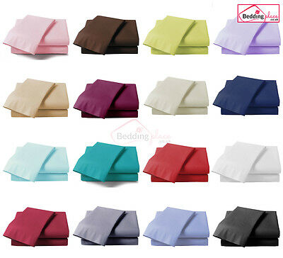 £5.95 • Buy *clearance Sale* Plain Dyed 100% Poly Cotton Fitted Sheet Single Double King