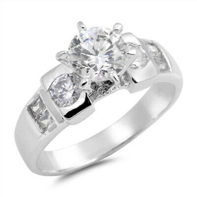 $16.89 • Buy Round Solitaire Clear CZ Wedding Ring New .925 Sterling Silver Band Sizes 5-10