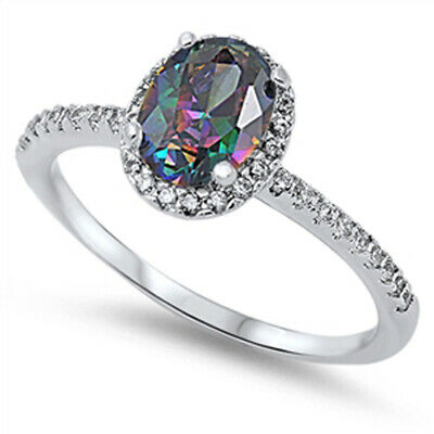 $17.99 • Buy Solitaire Rainbow Topaz CZ Halo Wedding Ring New .925 Sterling Silver Sizes 4-10