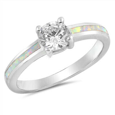$17.39 • Buy Clear CZ Solitaire White Lab Opal Ring New .925 Sterling Silver Band Sizes 5-10