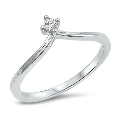$11.29 • Buy Round Clear CZ Solitaire Chevron Ring New .925 Sterling Silver Band Sizes 4-10