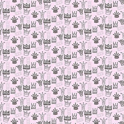 £2.95 • Buy Printed Bow Fabric A4 Canvas Crown & Tiara Pattern On Pink CR2 Make Glitter Bows