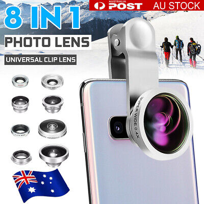 8 In 1 Clip Fisheye + Macro Camera Lens Clip + Wide Angle Kit For IPhone Samsung • 16.47AU