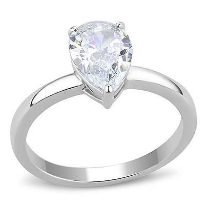 $9.99 • Buy Stainless Steel 1.8ct Pear Teardrop Solitaire CZ Engagement Wedding Promise Ring