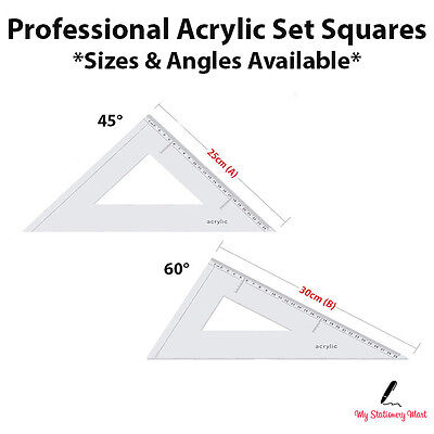 Liquidraw Set Square Angle-Line Triangle Ruler 45° 60° Set Squares Acrylic  • 7.99£