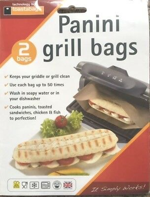 2 X PANINI GRILL BAGS – SNACK  LUNCH, REUSEABLE, PERFECT FOR GRIDDLES , 50 USES • 3.99£