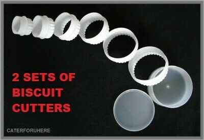 £6.99 • Buy Reduced 6 Round White Biscuit Cookie Pastry Cutters Plain Fluted Crinkle Baking