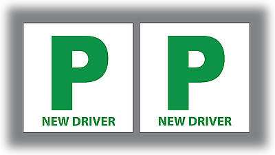 2 X New Driver P Plate Stickers Safety Car Learner Just Passed Vinyl Legal Signs • 3.19£