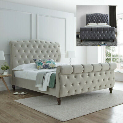 £539.99 • Buy Velvet Sleigh Bed, Colorado Scroll Bed With 2 Colour, 2 Size, 4 Mattress Options