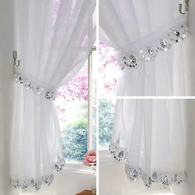 £14.95 • Buy Jewelled Voile Curtain Crystal Sparkle Bling Panels Ready Made Slot Top Curtains