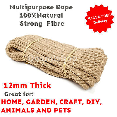 12 Mm Thick Natural Multipurpose Jute Rope Twisted Cord Twine Garden DIY Craft • 10.99£