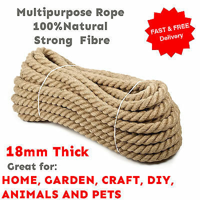 18 Mm Thick Natural Multipurpose Jute Rope Twisted Cord Twine Sash Garden DIY  • 3.99£